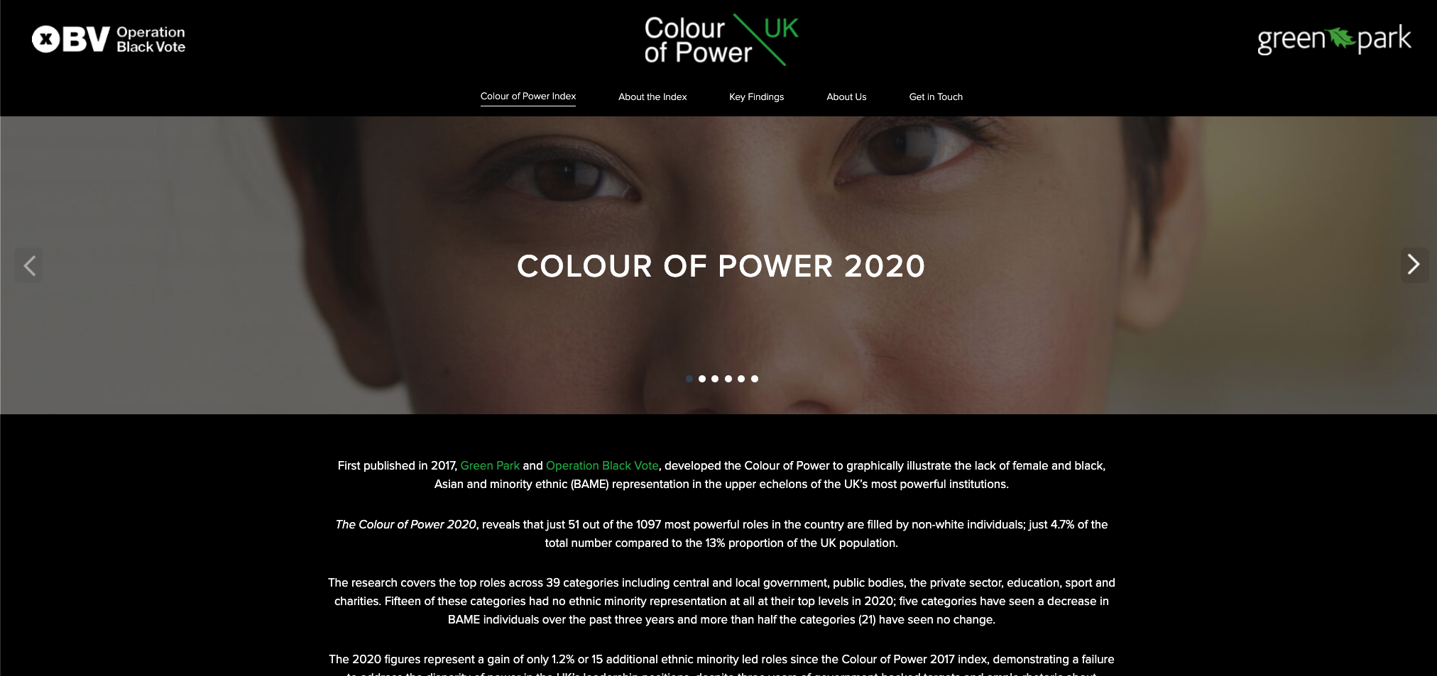Key Findings · The Colour of Power